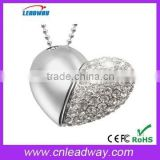 crystal heart usb flash drive wholesale trendy jump drive with branded chips and company logo 128MB to 64GB