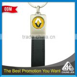 Low MOQ China wholesale black/blue color leather key holder with brand logo