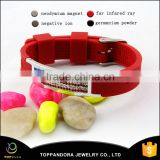 100% eco-friendly red rubber silicone free nickle lead stainless steel germanium ion silicone bracelet