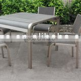 Garden brushed alu. table chair set/ Polywood table rattan char/ Aluminum dining table set