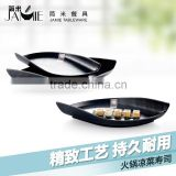 Free Sample tableware Leaf Shape Japanese restaurant hotel canteen plate melamine ware matt black plate trade assurance