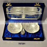 Silver Plated Indian Brass Bowl set With Spoon & Tray Silver Plated in Velvet Box for Corporate Gifts