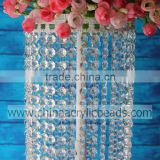 Tall Crystal Candle Holder Crystal Table Candlesticks with beaded garland