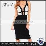 MGOO New Fashion OEM/ODM China Manufacturer Wholesale Fashion Bandage Dress For Women Sexy Knee Length Vestidos Black #24206145