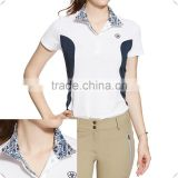 custom stylish athletic fit White mock collarLightweight breathable dry fit Ladies Horse Riding Sport Competition Polo Shirts