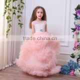 Luxury Pregnant Bridal Gown Fluffy Cloud Long Train Crystal Wedding flower girl Dress Cloudy