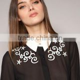 Star Black white contrast color restoring ancient ways hook flower stars embroidery long sleeve chiffon shirt