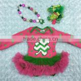 2015 new patrick day shamrock hot pink green baby romper tutu romper dress with matching necklace and headband set