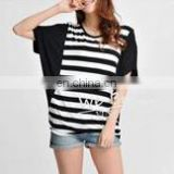 Bamboo Fabric Straps Printing Block Matching Stretchy T-shirt Girls Fashion Design