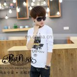 Peijiaxin Casual Style O-neck Catoon Printed Men Long Sleeves Cotton T shirt