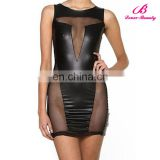 Wholesale women sleeveless fashion black tight leather dress