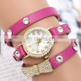 Hot Sell High Quality Rhinestone Bowknot Genuine Cow Leather Retro Watch Vintage Women Dress Watch