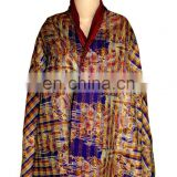 Reversible Handmade Re-cycled Silk Scarf / Stole Multicolor Multiuse Unique Handwoven Kantha Work Revertible Shawl Dupatta Neck