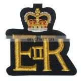 ER with crown badge, Hand Embroidered Gold Bullion Badge, Gold Bullion Crest, British Gold Bullion Badge