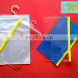 PVC plastic zipper hook bag for underwear/swimwear/garment packing