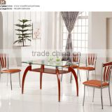 Modern Home Dining Room Furniture 6 Seat Soildwood Glass Dinning table set leather and metal dinning chairs