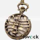 Men's Vintage Brass Hollow Eagle Half Hunter Quartz Movement Pocket Watch w/ Gift Chain