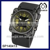 SDU Mens Sport LCD Chronograph Digital Army Quartz Watch Black Rubber watch