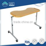 Medical wooden over Bed Table With Wheels for hospital