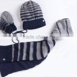 New arrival striped blue brand hand knitted hat scarf set for men