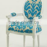 French /European style Louis XV Bule Flower Chenille Fabric wooden Dining Arm chair/Living Leisure chair(CH-904)