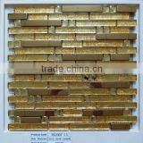 Wholesale Strip Stainless Steel Mix Glass Mosaic for Living Rooms Interior Wall Tile Design