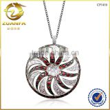 925 sterling silver jewelry wholesale cz paved round shaped with sun flower pendant necklace