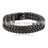 Men's Link Wrist two tone Polished double strand wheat chain Stainless Steel Bracelet