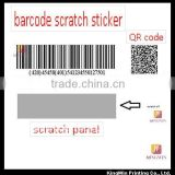 Scratch Bar code sticker With Serial Number
