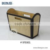 Office PU filing storage basket with handles, Morck woven bamboo leatherette office magazine totes