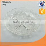 hot selling D22cm clear round glass plate with carved patterns                                                                         Quality Choice