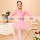 girls long sleeve ballet leotard with skirt,ballet dress with bow decorated in the back