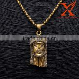 Brand New Micro Pave Stainless Steel L316 Plating 14K Gold Jesus Face Head Pendant Hip Hop Jewelry                                                                         Quality Choice
