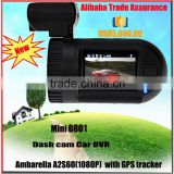Mini 0801 Ambarella A2S60/70 Chip Full HD 1920X1080P car dashcam gps tracker with camera