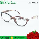 2016 PC injection polycarbonate cat eye reading eyeglasses frames with pattern design reading eyeglasses