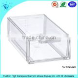 Custom high transparent acrylic shoes display box with lid wholesale