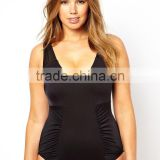 sexy adult onesie swimwear ,Deep V Neck Swimsuit Black