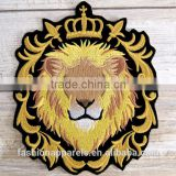 Custom high quality embroidered lion patch for clothes embroidery patch made in china choose size/color