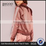 MGOO Women Plain Lightweight Satin Track Bomber Jacket Zip Up Baseball Jacket With Private Label Tag