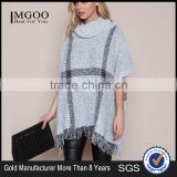 MGOO New Fashion Plaid Pullover Tops Grey Knit Mohair Fringe Poncho Women Winter Popular Clothes