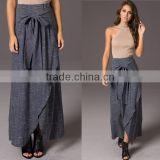 Charlotte Wrap Maxi Skirt In Navy