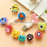 cheap promotion good quality cute cartoon character silicone Mobile phone cord holder cable winder