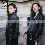 Fashion Cool Zip Front Black Leather Jacket Woman / Real Sheep Skin Jacket Leather / Leather Motorcycle Jacket