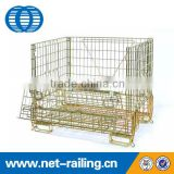 Large stack welded pallet wire mesh storage container with casters