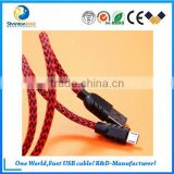 High quality USB2.0 Durable Nylon braided double sided micro usb cable for Samsung galaxy s4 s5 s6