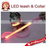 Wholesale - LED Dog Collar Pet Leash Set Harness Rope Dog Leash Training Lead Collar LED Dog Pet Collar Tag 120cm