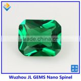wholesale High quality Synthetic Octagon Cut Emerald green Nano Spinel stones 114#