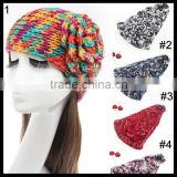 Colorful crochet Cable Knitted Headband, Jeweled Ear Warmer, Embellished Flower, Fashion Accessory