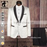 2016 apparel High Quality clothing manufacturers OEM white racking pattern Formal Wedding frock Wear mans suit                                                                         Quality Choice
