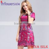 Wholesale ladies' Fashion Digital Print Silk Fabric raw silk evening dress China Supplier
